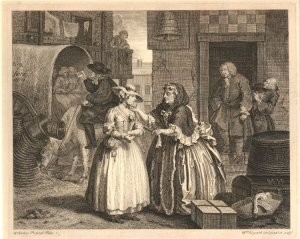 The Harlot's Progress, Plate 1. William Hogarth.