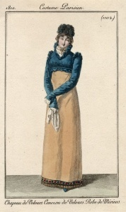 1813, chapeau de velours,  robe de Merino.