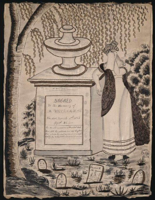 Embroidered mourning picture, 1823. MFA Boston, 42.643