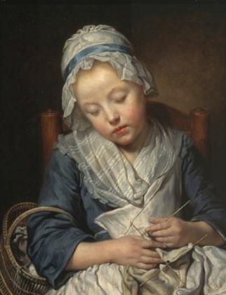 Young Knitter Asleep, Jean-Baptiste Greuze, ca. 1759. Huntington Museum, 78.20.8