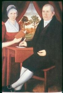 John Brewster and Ruth Avery Brewster. Oil on canvas by JOhn Brewster, Jr. ca. 1795-1800. Old Sturbridge Village.