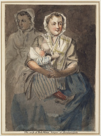 The wife of Bob Munn, Keeper at Sandpit Gate. Paul Sandby, Royal Collection Trust  RCN 914337