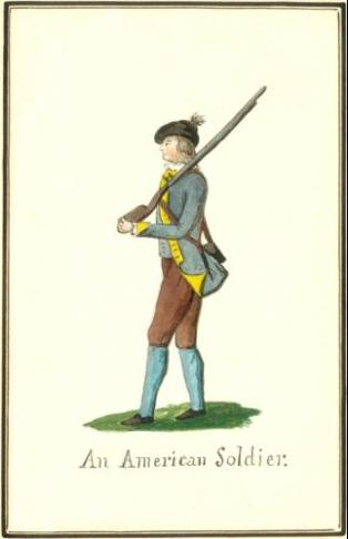 An American Soldier. ca.1852 copy of a ca.1777 watercolor by Hessen-Hanau Captain Friedrich von Germann. Niedersächsisches Staatsarchiv, Wolfenbüttel, Braunschweig