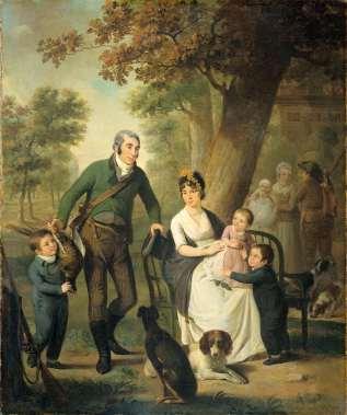 Jonkheer Gijsbert Carel Rutger Reinier van Brienen van Ramerus (1771-1821), met zijn vrouw en vier van hun kinderen, Adriaan de Lelie, 1804