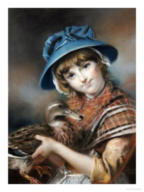 A Market Girl with a Mallard Duck, pastel by John Russell, 1787. (Sold by Christie's)
