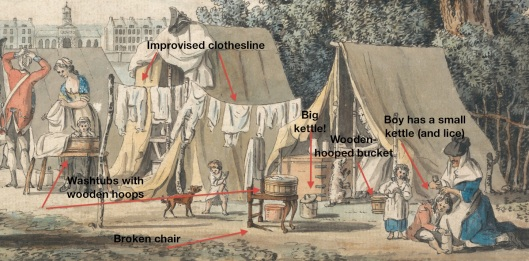 James Malton, 1761-1803, A Military Encampment in Hyde Park, 1785, Watercolor with pen in black ink, with traces of graphite on moderately thick, moderately textured, beige, laid paper, Yale Center for British Art, Paul Mellon Collection