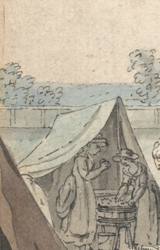 Detail, James Malton, 1761-1803, A Military Encampment in Hyde Park, 1785, Watercolor with pen in black ink, with traces of graphite on moderately thick, moderately textured, beige, laid paper, Yale Center for British Art, Paul Mellon Collection
