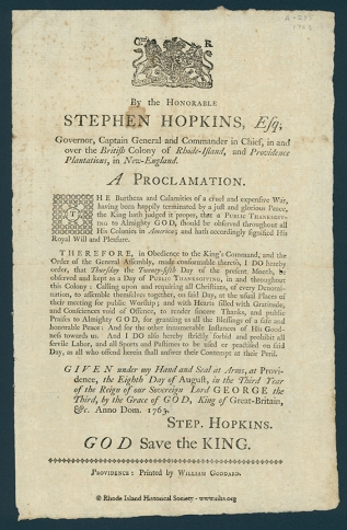 Proclamation of Thanksgiving, Stephen Hopkins, 1763. RIHS G1157 Broadsides 1763 No.7