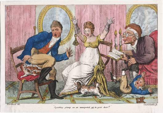 Squatting plump on an unsuspected cat in your chair!! George Cruikshank [1800]. Lewis Walpole Library, Image ID lwlpr09721 Call Number 800.00.00.176+