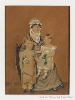 Portrait of Sarah Comstock Coffin and Children, ca. 1815. Nantucket Historical Association, 1917.0034.001