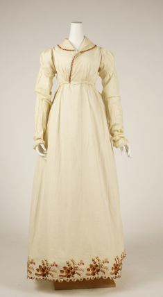 Morning dress, ca. 1806. American Cotton, wool. Length at CB: 54 in. (137.2 cm) Gift of George V. Masselos, in memory of Grace Ziebarth, 1976 MMA 1976.142.2