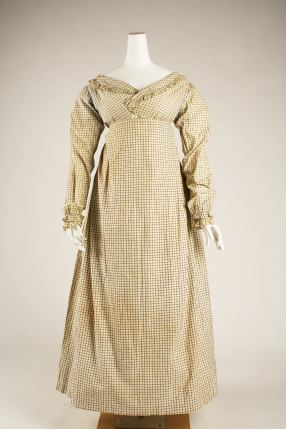Morning dress ca. 1820. British. Cotton. Length at CB: 46 in. (116.8 cm) Purchase, Marcia Sand Bequest, in memory of her daughter, Tiger (Joan) Morse, 1979 MMA 1979.385.1