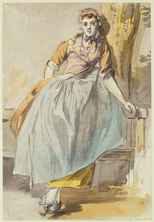 A country girl, full-length, facing front, leaning against a fence & a tree. Watercolor by Paul Sandby. RCIN 914438. Royal Collection Trust