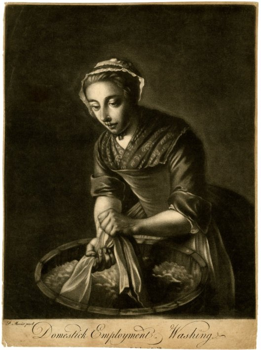 Domestick employment, washing. Mezzotint by Richard Houston after Phillipe Mercier, 1736-1775. British Museum 1876,0708.23