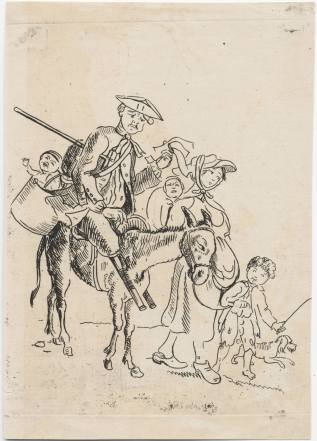 Crippled soldier with family. Etching, London (?) ca. 1760. Lewis Walpole Library, 760.00.00.16
