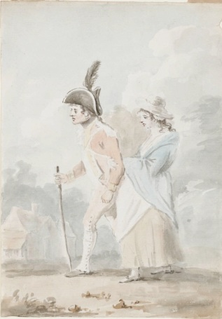 A soldier and his girl. Henry Bunbury, ca. 1794. Lewis Walpole Library, Drawings B87 no. 8
