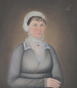 WOMAN IN GRAY DRESS John Brewster Jr. (1766–1854) New England 1814 Oil on canvas 29 1/2 x 24 5/8 in. (sight) American Folk Art Museum, promised gift of Eric D.W. Cohler, P3.1998.1
