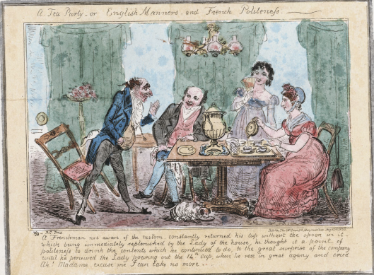A tea party, or English manners and French politeness. Hand-colored etching on laid paper by Robert Cruikshank, 1835. Lewis Walpole Digital Library, 835.08.01.19