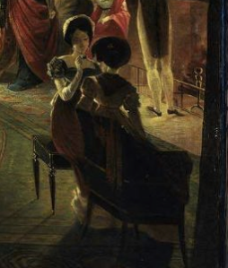 Detail, The Tea Party, oil on canvas by Henry Sargent, 1824. MFA Boston, 19.12
