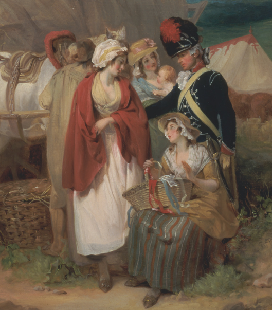 Francis Wheatley, 1747-1801, British, Soldier with Country Women Selling Ribbons, near a Military Camp, 1788, Oil on canvas, Yale Center for British Art, Paul Mellon Collection