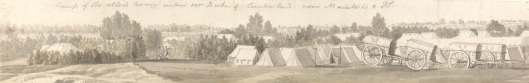 Thomas Sandby, 1721-1798, British, Encampment at Maestricht, 1747, Pen in black ink, over graphite with gray wash on medium, moderately textured, beige, laid paper, Yale Center for British Art, Paul Mellon Collection