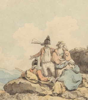 Francis Wheatley, 1747-1801, British, Soldiers and Country Women, undated, Pen and black ink with watercolor on medium, smooth, cream wove paper, Yale Center for British Art, Paul Mellon Collection