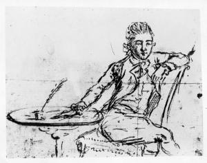 John André's self-portrait, 1780. George Dudley Seymour Papers, Manuscripts and Archives, Sterling Memorial Library, Yale University