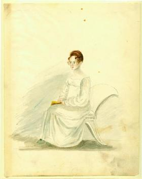 Portrait of a seated young lady, watercolor on paper by Anna Maria von Phul, 1818. Missouri History Museum, 1953 158 0013