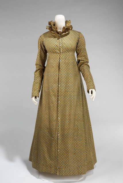 Dress Date: ca. 1815 Culture: American Medium: cotton Dimensions: Length at CB: 54 in. (137.2 cm) Credit Line: Brooklyn Museum Costume Collection at The Metropolitan Museum of Art, Gift of the Brooklyn Museum, 2009; Gift of Florence Inniss, 1970 Accession Number: 2009.300.943