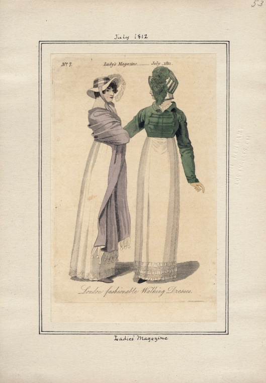 The Ladies Magazine, v/ 4, plate 53, Wednesday July 1, 1812. Casey Fashion Plate Collection, LA Public Library