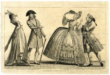 Ah! Quelle antiquité!!! Oh! Quelle folie que la nouveauté ... Engraving, 1797. 1892,0714.755 British Museuem