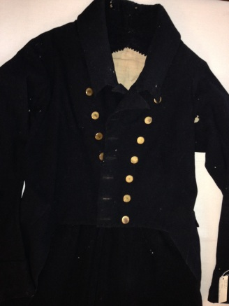 Blue wool coat c. 1800. RIHS Museum Collection 1968.38.1