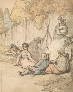 Thomas Rowlandson, 1756–1827, British, Gypsies Cooking on an Open Fire, undated, Watercolor and with pen and brown ink and pen and gray ink on medium, slightly textured, cream wove paper, Yale Center for British Art, Paul Mellon Collection