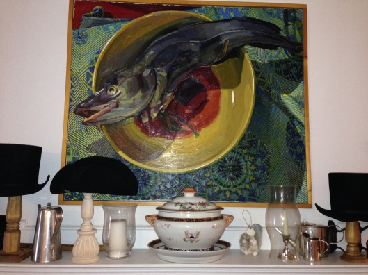 Pride of place, with a friend's painting and Mr B's hats