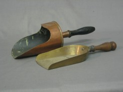 Denham's Auctioneers: Lot 418 A copper coal shovel and a brass coal shovel