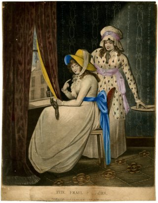 two ladies looking out a window in 1790s garments