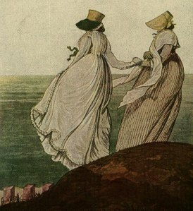 The Gallery of Fashion, 1797, Bathing Place, Morning Dresses.