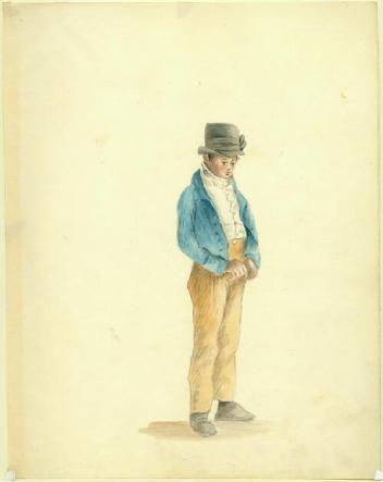Boy in a Beaver Hat. Watercolor by Anna Maria von Phul, 1818. MHS 1957.158.27