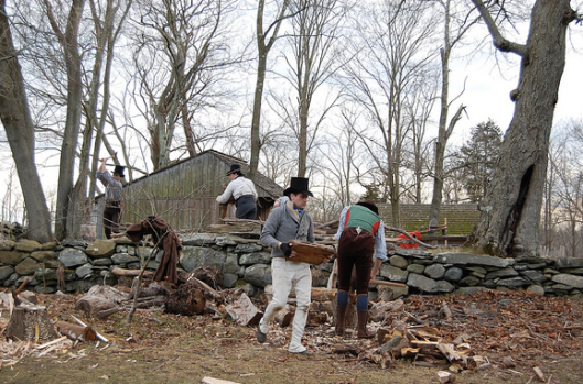 Chopping wood: it takes  a lot to cook and to keep warm in 1799