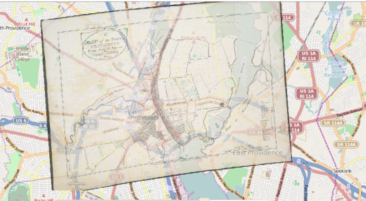 Georectified map of Providence, using Mapwarper.