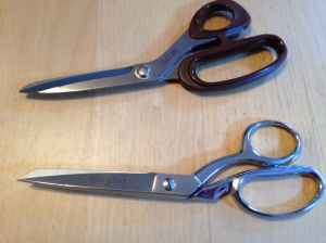 Shears: former fabric and current fabric.