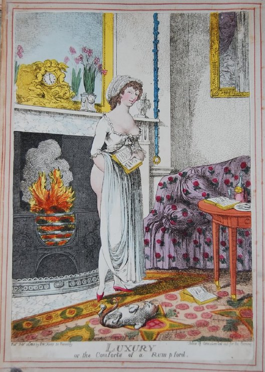 A companion pl. to BMSat 9813. A pretty young woman wearing a décolleté négligé, stands with her back to the fire, her gown raised to leave her posterior naked. She holds a book: 'The Monk - a Novel by M' ['G. Lewis', cf. BMSat 9932]; another is open on the floor: 'Œconomy of Love by Dr Arm[strong', 1736]. A cat rolls on its back. On a table are a decanter of 'Creme de Noyau', and an open book: 'The Kisses'. On the mantelpiece are flowers and an ornate clock with embracing cupids. A picture partly covered by a curtain represents Danaë receiving the golden shower. The room, apparently that of a courtesan, is luxuriously furnished. 26 February 1801 Hand-coloured etching, British Museum, 1935,0522.7.12