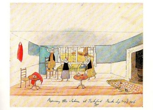 Papering the Saloon at Tickford Hall, watercolor by Diana Sperling, 1816.