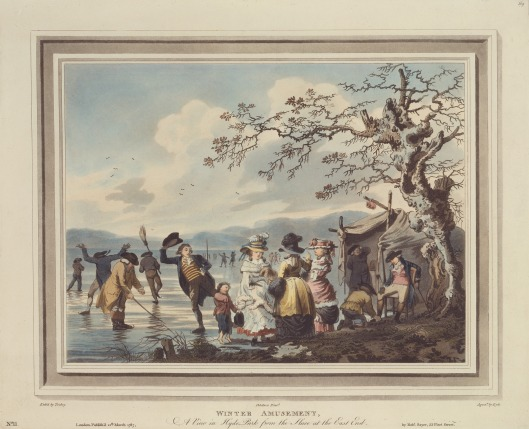 Winter Amusement: A View in Hyde Park from the Sluice at the East End.Aquatint, printed in color and colored by hand, 1787.Print made by James Tookey. YCBA  B1985.36.609