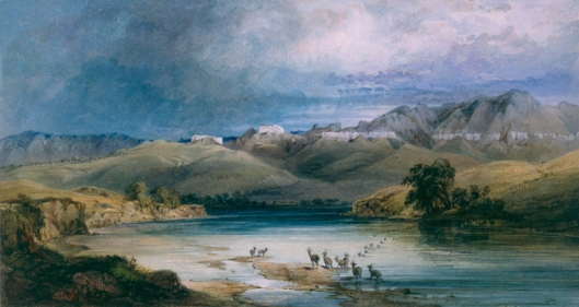 Karl Bodmer (Swiss, 1809-1893),  White Castles on the Missouri , 1833  watercolor on paper, 9 x 16 3/8 in.; 22.86 x 41.59 cm  gift of Enron Art Foundation, Joslyn Art Museum, 1986.49.176