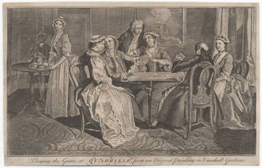 Playing the game at quadrille : from an original painting in Vauxhall Gardens. London : Robert Sayer, ca. 1750. Lewis Walpole Library, 750.00.00.14