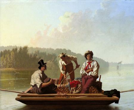 George Caleb Bingham (American, 1811–1879). Boatmen on the Missouri, 1846. Oil on canvas. Gift of Mr. and Mrs. John D. Rockefeller 3rd. Fine Arts Museums of San Francisco, 1979.7.15