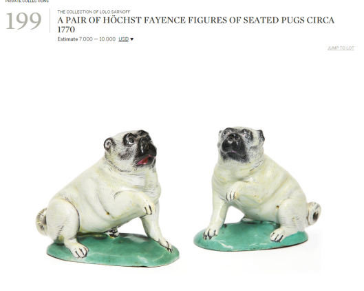 A pair of Hochst fayence figures of seated pugs ca 1770.