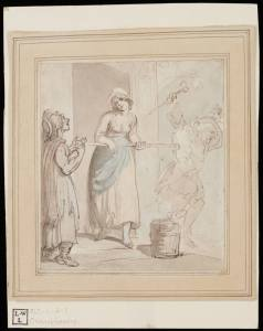 I'm a bad maid. Watercolor by Thomas Rowlandson, 1785? Lewis Walpole LibraryDrawings R79 no. 7