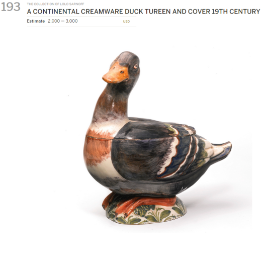 A Continental creamware duck tureen and cover.  Duck ways, no more hot soup, please.